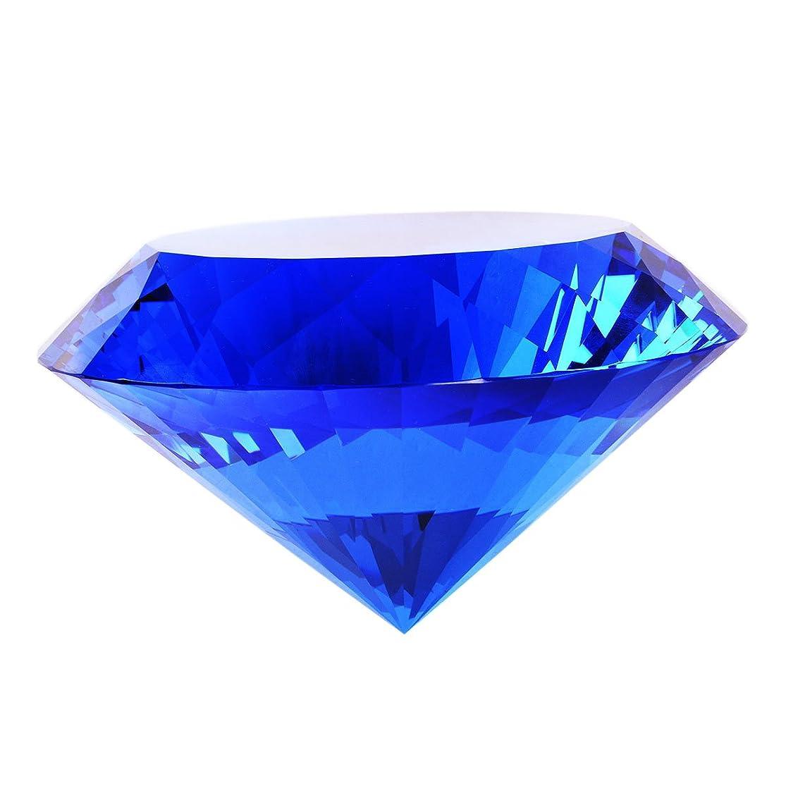コンドーム一緒文明多色透明 水晶 ダイヤモンド 120mm ペーパーウェイト ガラス 文鎮 装飾品【ギフトボックス 】 (水色)