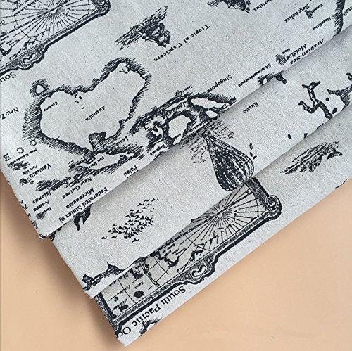yile 1Meter (100x 150cm) lino y algodón tela DIY Craft material impresión mapa del mundo