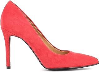Altramarea Donna Made in Italy, Decollete Classico in camoscio con Tacco a Spillo, Colore Rosso