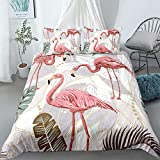 Bevvsovs Funda Nórdica con Set Flamingo Animal Selva Tropical 135 X 200 Cm Funda Nórdica con Estampado 3D De con Cierre De Cremallera Juego De Sábanas De Microfibra De 3 Piezas con 2 Fundas De Almoh