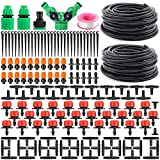 """Garden Automatic Drip Irrigation Set,30m Adjustable Micro DIY Irrigation Kit Plant Water Saving System,1/4"""" Heavy Duty Tube Watering Kit for Patio Lawn Garden Greenhouse Flower Bed"""