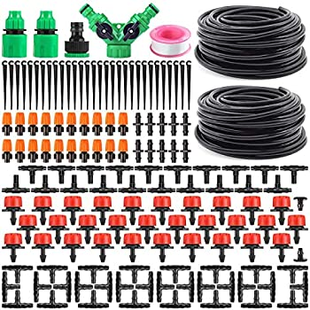 Garden Automatic Drip Irrigation Set,30m Adjustable Micro DIY Irrigation Kit Plant Water Saving System,1/4  Heavy Duty Tube Watering Kit for Patio Lawn Garden Greenhouse Flower Bed