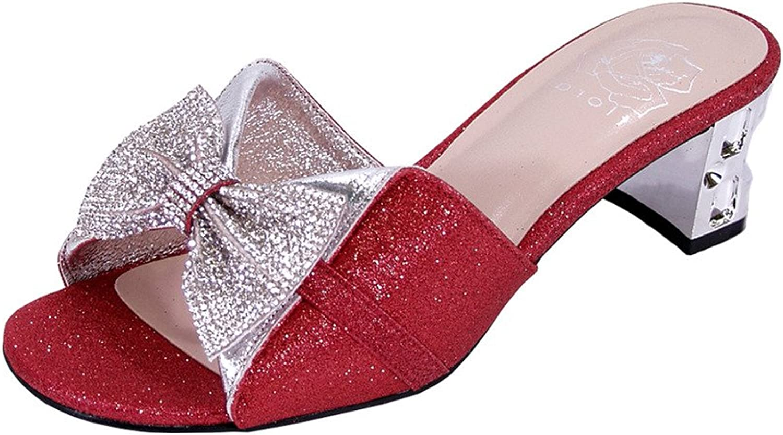 Floral Farrah Women Wide Width Rhinestone Bow Slip-On Pretty Ornate Block Heel Sandals (Size Measurement)