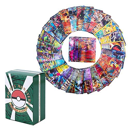 100 Pcs Pokem-on Cards Set - 20 GX+20 Mega+1 Energy+59 EX Arts No Duplication Instant Collection Card Wow