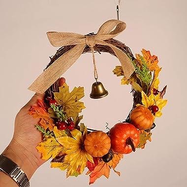 VORCOOL Thanksgiving Guirlande déco - Automne Deco Guirlande avec lumière Citrouille Guirlande - Porte Guirlande Muraille Cit