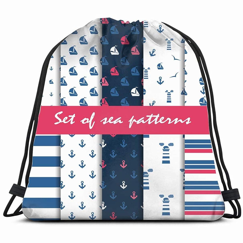 set summer s marine Drawstring Backpack Gym Sack Lightweight Bag Water Resistant Gym Backpack for Women&Men for Sports,Travelling,Hiking,Camping,Shopping Yoga