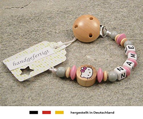 kleinerStorch Baby SCHNULLERKETTE mit Namen - Schnullerhalter mit Wunschnamen - Mädchen Motiv Hello Kitty in Natur, rosa