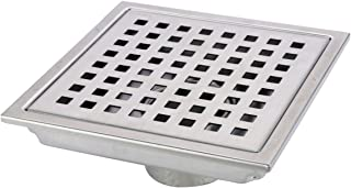 HANEBATH 6 Inch Square Shower Floor Drain with Removal Grate, Brushed