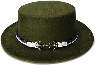 Elegant Hats Women Men Vintage Wool Wide Brim Top Cap Pork Pie Pork-Pie Bowler Hat Double Anchor Nylon Band by Original Design Natural Caps (Color : Green, Size : 57-58CM)