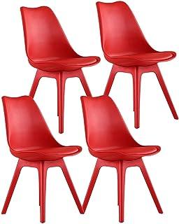 ZCXBHD Conjunto de 4 Tulipán Moderno Sillas Comedor PP Completo plástico con Asiento Acolchado Sillas Cocina Sillones Retro for Comedor Sala Estar Recepción Sillas Oficina (Color : Red)