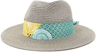 Sun Hat for men and women Fashion Women Summer Straw Sun Hat With Flat Wide-width Chapeu Feminino Striped Floral Satin Beach Hat UV Protection Fedora Hat