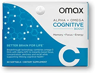 OMAX® Boost Memory & Focus Supplement Omega 3 DHA + Alpha GPC | Support Brain Health, Improve Memory, Support True Focus, ...
