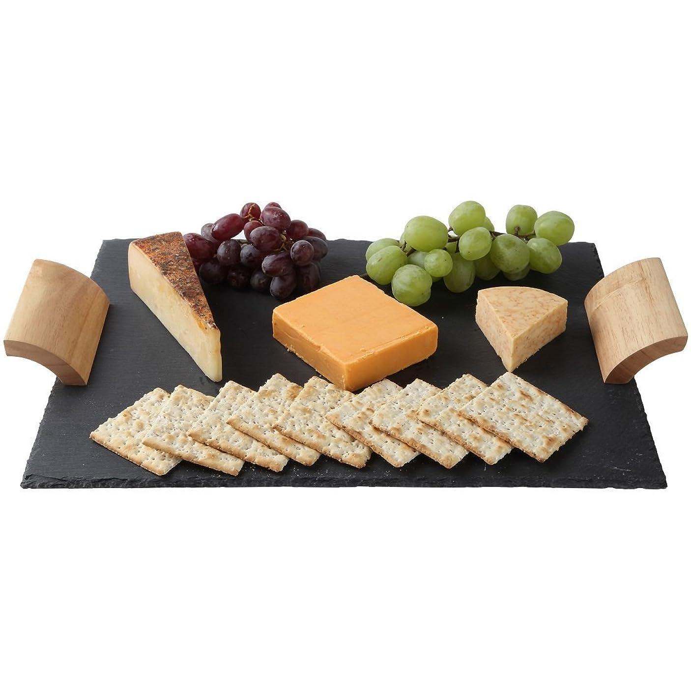 シミュレートする電話に出る進むLilyのホーム素朴なスレートチーズボードwith木製ハンドルとチョーク、チーズトレイ、16?x 12インチ。