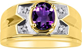 RYLOS Mens Ring with Oval Shape Gemstone & Genuine Sparkling Diamond in 14K Yellow Gold Plated Silver .925-8X6MM Color Stone