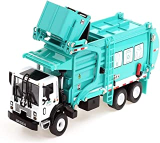 ZHJ Die-cast Metal Toy Car Alloy Inertial Anti-Fall Model Recycling Clean Garbage Truck Trailer Engineering Vehicle Set Boy Girl Decoration Favorites Gift Vehicle Playsets (Color : Green)