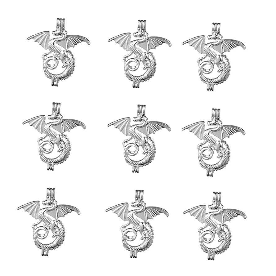 10pcs Rhodium Plated Dragon Shape Bead Cage Hollow Locket Charm Necklace - Add Your Own Stones, Rock to Cage,Add Perfume and Essential Oils to Create a Scent Diffusing Charms Pendant Necklace