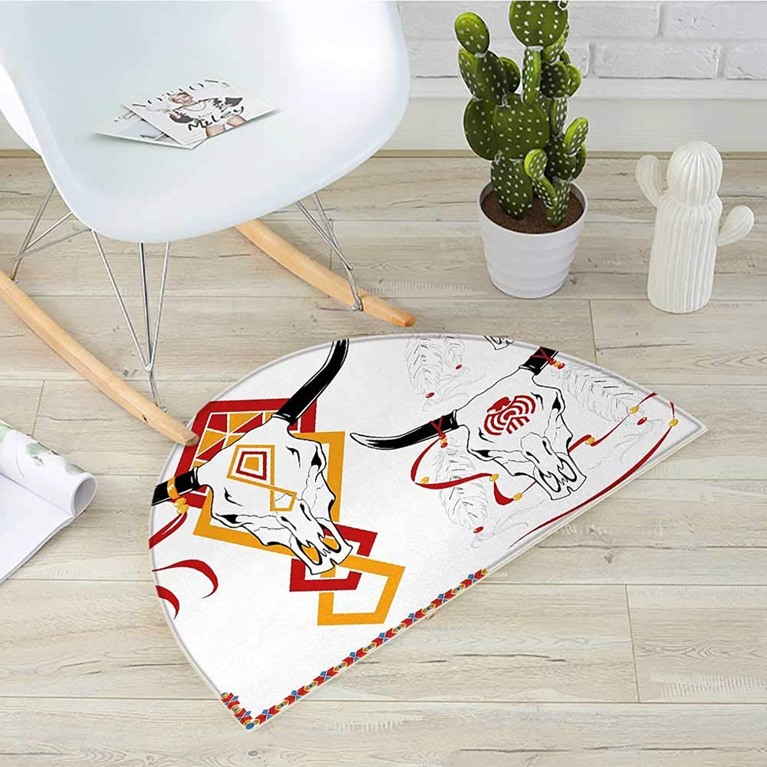 Tattoo Semicircular CushionBulls Head with Feather of Bird as Accessory with Tribal Designers Print Entry Door Mat H 39.3  xD 59  Red Yellow and White