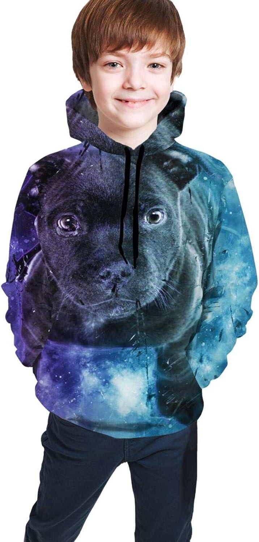 Boys Girls Hoodie, Black Dog Unisex 3D Printing Teenager Sweatshirt Kids Children's Sweater for Age 7-20