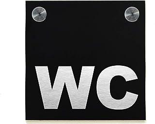 Signe de porte de toilettes d'hôtel - Aluminium noir gravé au Laser de fibre - Signes de WC modernes - Plaque de décoratio...