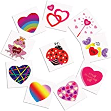 Cualfec 120 PCS Valentine's Day Temporary Tattoos Valentine's Day Party Favors Bulk Toys for Kids - 10 Different Designs