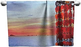 Andasrew Gym Hand Towels Beach,Dreamcatcher Ibiza Sunset Mediterranean Sea View Picture Vacation Theme Image, Red Blue Coral,Beach Towel for Men
