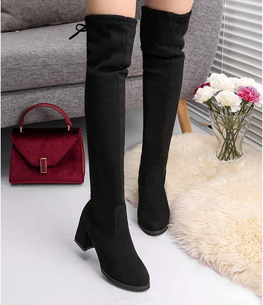 Bigfanshu 2021 Fashion Womens Spring Winter Over The Knee Boots Suede Long Comfort Square Heels Booties Thigh High Boots