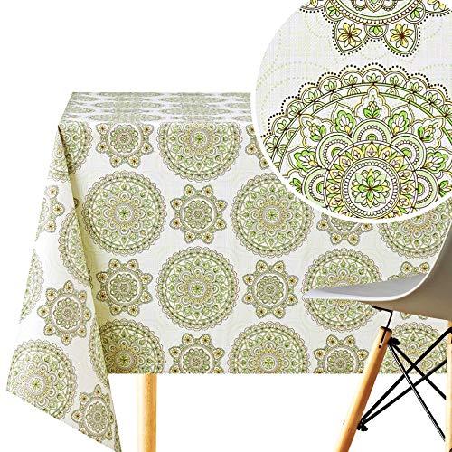 KP HOME Mantel con diseño de mandala de loto oriental, cuadrado, 140 x 140 cm, PVC, reutilizable, lavable, diseño étnico, color crema y verde