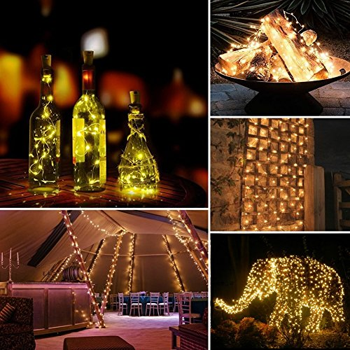 LiyuanQ Solar String Lights, 2 Pack 100 LED Solar Fairy Lights 33 Feet 8 Modes Copper Wire Lights Waterproof Outdoor String Lights for Garden Patio Gate Yard Party Wedding Indoor Bedroom Warm White