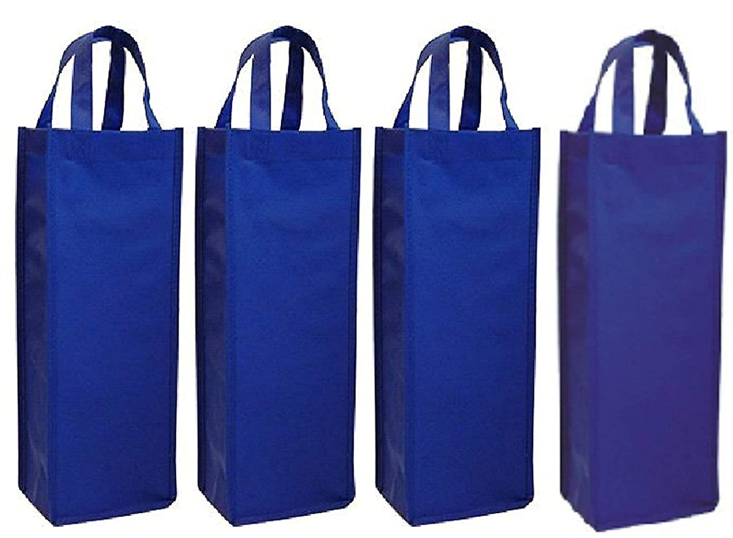 wish you have a nice day 4 Pack Non-Woven Single Bottle Wine Tote Bag Holder, Reusable Gift Bag (4, blue) abc987160180