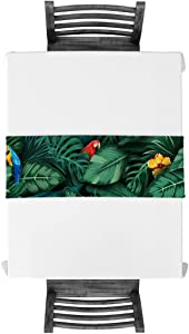 Geometric Rectangle Table Runners 14 x 72 Inches, Summer Theme Tropical Plants and Parrots Art Print - Luxury Table Runner for Wedding Party Holiday Dinner Home Decor