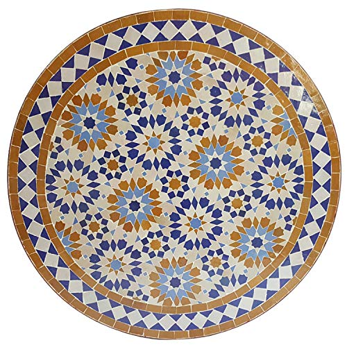 Mesa de jardín mediterránea Ankabut marrón, 70 cm, redonda con estructura, altura 73 cm, hecha a mano de Marrakesch, mesa decorativa para balcón, mesa auxiliar marroquí, MT3092