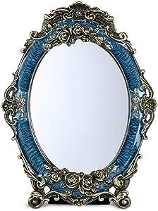 Miroir ZM De Maquillage, Beau De Décoration De Bureau, Simple De Maquillage Européen Rétro HD (Couleur : Bleu, Taille : 20.5x27.5cm)