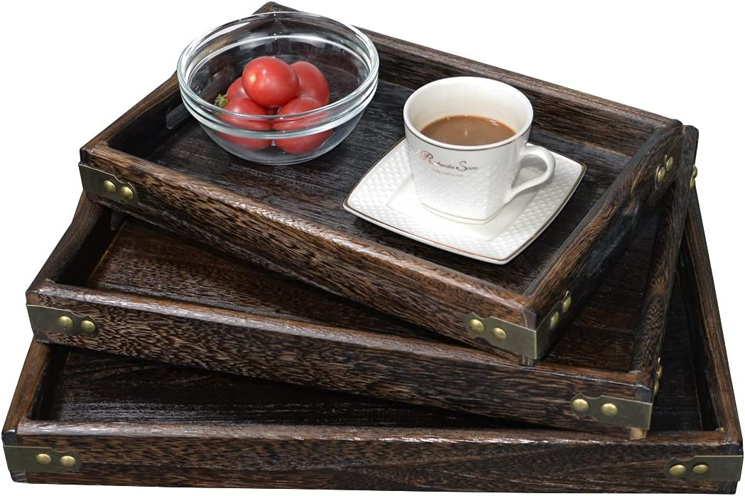 Rustic Tray for Food Wooden Serving Tray with Handles for Ottoman Coffee Table Centerpiece Bar Outdoor Bedroom Living Room Bed Kitchen Farmhouse Decor Small Wood Tray Set of 3 Coffee Brown