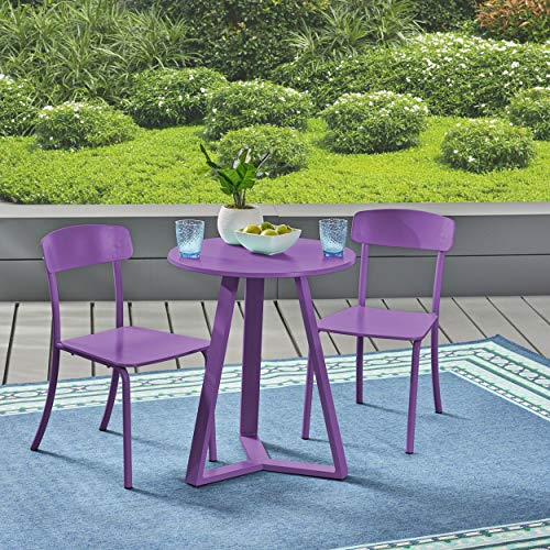 Christopher Knight Home 304948 Larissa Outdoor Bistro Set Matte Purple
