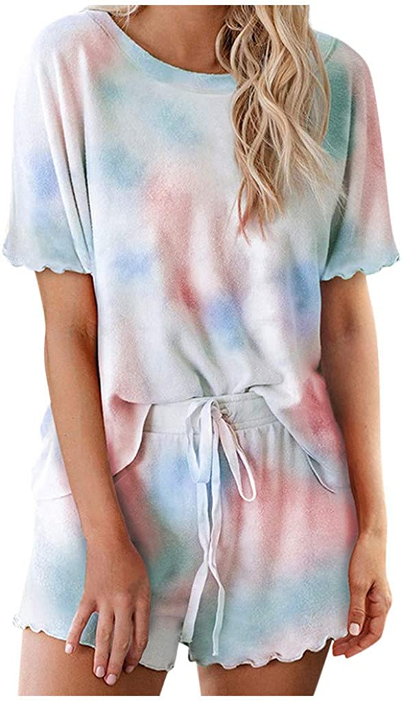 Womens Pajama Sets,Womens Tie Dye Pajamas Set Short Sleeve Tops and Ruffle Shorts Lounge Set Nightwear Loungewear