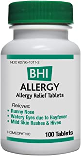 BHI Allergy Relief Natural, Safe Homeopathic Relief - 100 Tablets