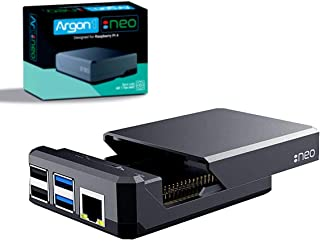 Argon NEO Raspberry Pi 4 Model B Heatsink Case | Supports Cooling Fan, Camera, and LCD Display | GPIO and PoE Pins are Acc...