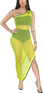 IyMoo Women's Mesh Swimsuit Cover up Sexy Off Shoulder Fishnet Maxi Dress Hollow Out Bodycon Beach Club Dresses