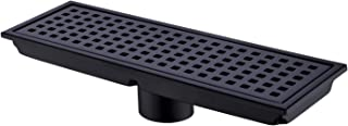 Orhemus Linear Shower Floor Drain with Removable Cover Grid Grate 12 inch Long Rectangle, SUS 304 Stainless Steel Matte Black Plated Finish