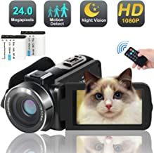 HD Video Camera Camcorder,Full HD 1080p 30FPS 24MP Digital YouTube Vlog Camera Video with LED Fill Light Pause Time Lapse Function 2 Batteries Free HDMI Cable Support External Microphone