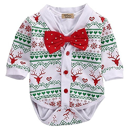 2Pcs Christmas Baby Boy Girls Deer Snowflake Coat+Bowtie White Short Sleeve Romper Playsuit Set (3-6Months, White)
