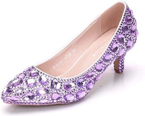 Fuxitoggo zapatos de Fiesta con Cordones y Abalorios con Cuentas de Diamantes de imitación con tacón bajo para mujeres (Color   púrpura-6cm Heel, tamaño   4.5 UK)