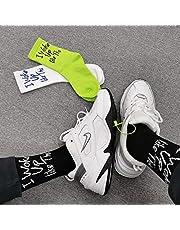 Calcetines de Hip-Hop con Letras Verdes Brillantes en inglés para Hombres y Mujeres Medias Medianas Calcetines de Skate de Texto