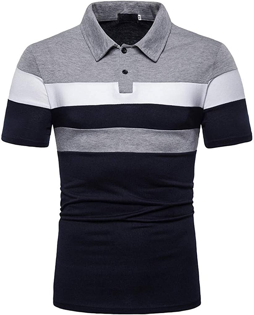 ZSBAYU Mens Slim Fit T-shirt Contrast Color Stitching Stripe Short Sleeve Casual Polo Shirt Patchwork Personality Top Blouse