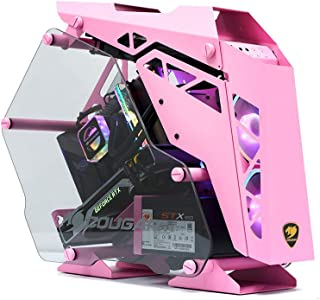 Gaming Case with Mini Aluminium Shell and Tempered Glass Pink