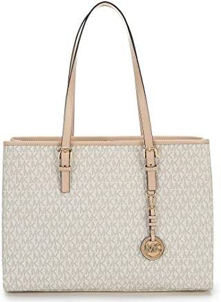 925898ed28c1 MICHAEL KORS Jet Set Travel EW Large Signature Tote (Vanilla)