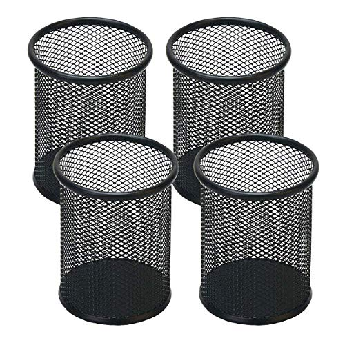 Snow Cooler Pen Holder Mesh Pencil Holder Metal Pencil Holder for Desk Office Pen Organizer Black, 4...