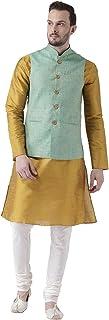 KISAH Men's Silk Kurta Pyjama with Waist Coat
