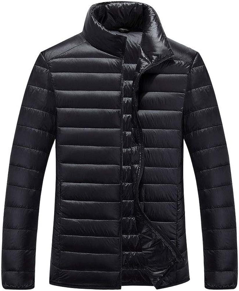 LINGMIN Men's Warm Snow Long Sleeve Snow Lightweight Zip Fashion Down Jackets Coat