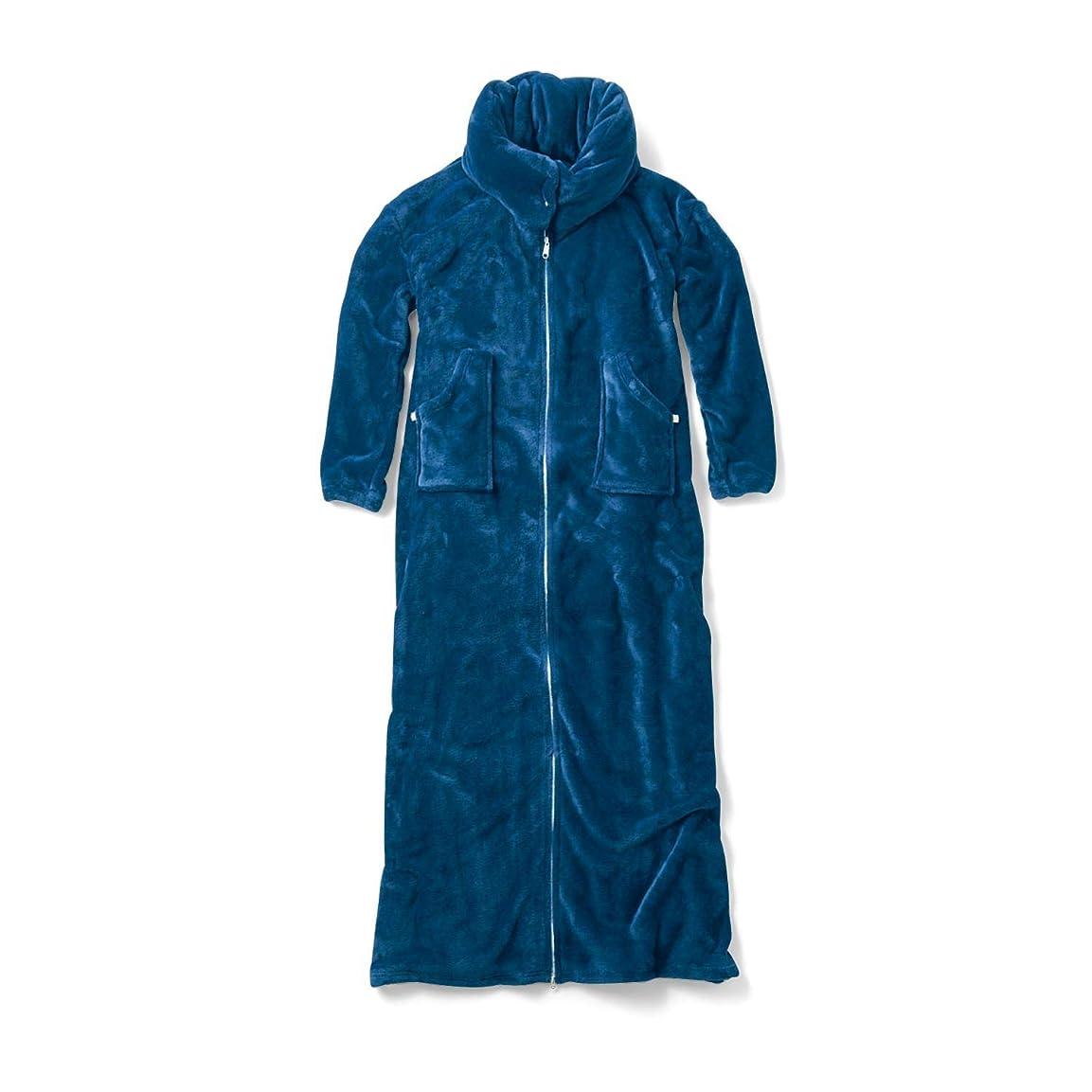 ママ武装解除ライター[ベルメゾン] そのまま寝られる 中わた入り 着る毛布 ネイビー